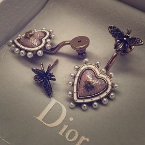 Used Auth Dior Bee / Heart Earring